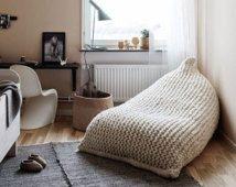 Chunky wool White Knit Adult bean bag / Stuffed White bean bag chair / Nursery chair / Chunky wool bean bag