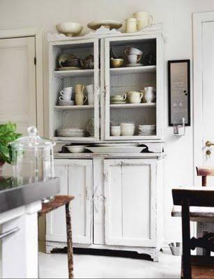 white chippy kitchen cupboard