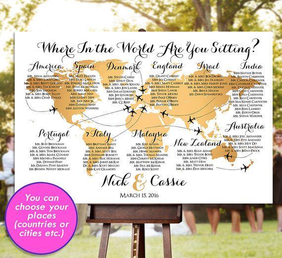 Boda estar carta - servicio de RUSH - oro mundial mapa plano viaje tema recepción Poster - archivo imprimible Digital HbC135b por HappyBlueCat