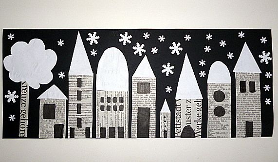 Snowfall on the city -- great winter cityscapes project. bastelsachen3/basteln-Stadt-bei-Schneefall