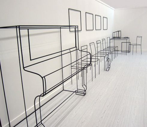 Minimalist Wire sculptures by Anya Zholud