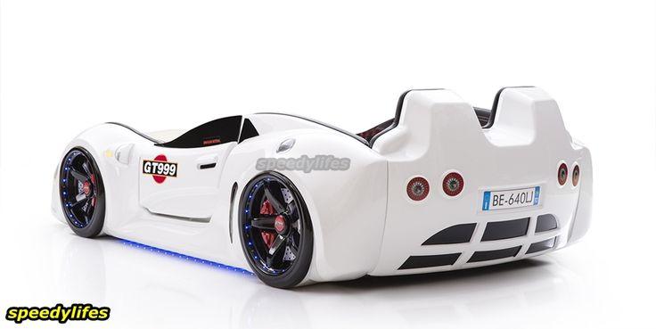 Deri Döşemeli GT999 Arabalı Yatak - Full Işıklı Araba Yatak