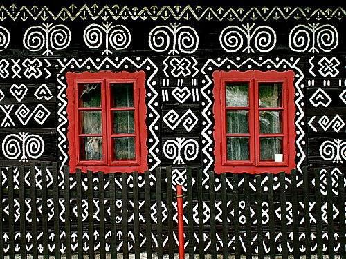 Painted house in Cicmany, Slovakia, Czech Republic