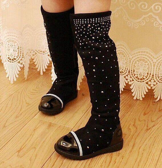 2017 Parent-child shoes princess elegant rhinestone girl high-leg boots children's snow child ever after high boots