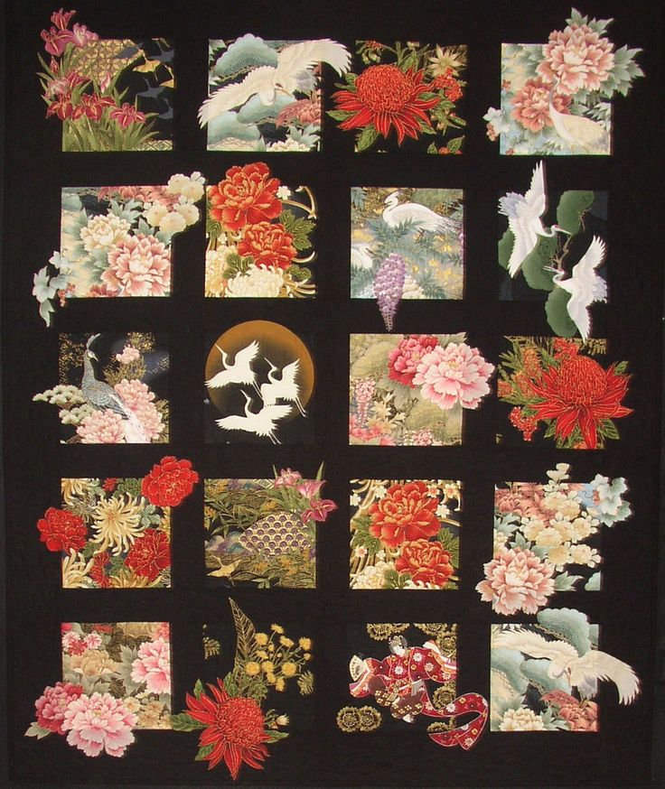 Quilt inspired by Japanese motifs by Willowbrook quilts.