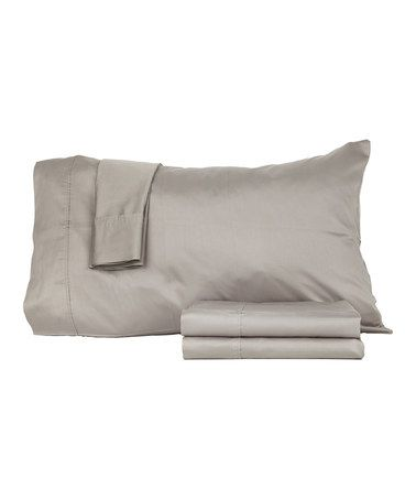 Another great find on #zulily! Gray Sateen Egyptian Cotton Sheet Set…