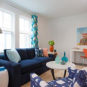 Navy blue sofa cottage living room rachel reider - Navy blue and turquoise living room ...