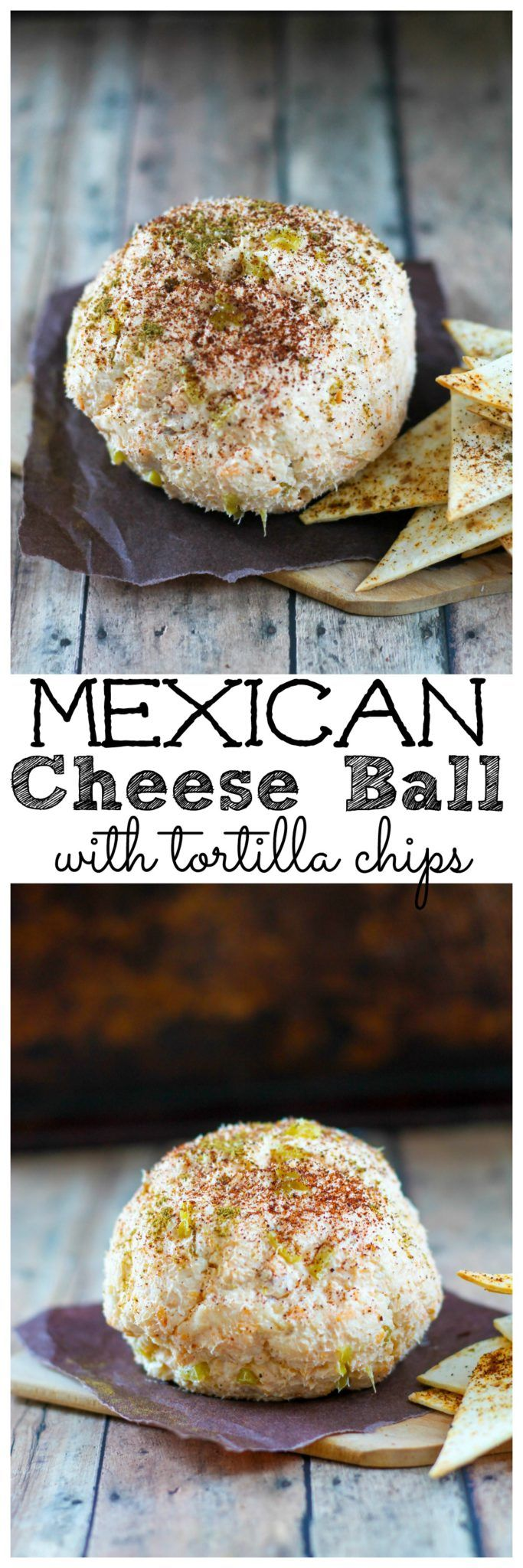 Mexican Cheese Ball with spicy tortilla chips. Looking for a spicy twist on a classic cheese ball? Try this one with with taco seasoning and green chilies. Make sure to eat it with toasty tortilla chips dusted with cumin and chili powder. Mexican Cheese Ball with tortilla chips recipe   Take Two Tapas