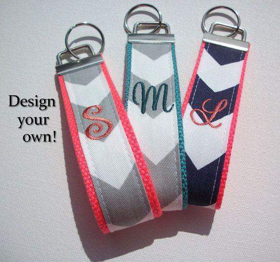 Key FOB / KeyChain / Wristlet  - inital monogram on your choice of chevron preppy -  custom Personalized