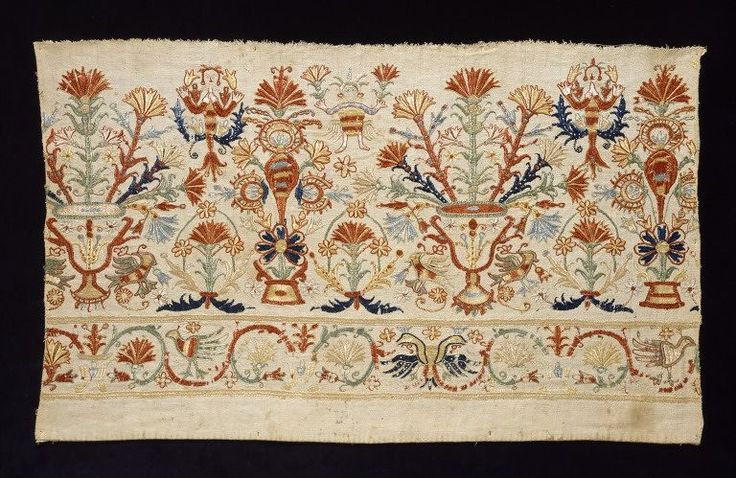 Border, Crete, Greece 1700-1800 , Linen and cotton (fustian) embroidered with silk thread