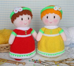 Jean Greenhowe's Dainty Dollies - free knitted doll pattern - Molly in a red dress and Lucy in a yellow dress. Both are knitted from the same pattern and measure 17cm [6¾in] in height.  The shoes, legs, body and head are knitted in one piece and each doll only requires 40 grams [1½ ounces] of yarn oddments, ~ 1 oz. stuffing
