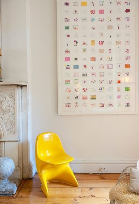 What to do with all of your kid's art? Take pictures of kid's art, shrink them, print them, mod podge them on canvas via Art is Basic-- Art Teacher Blog