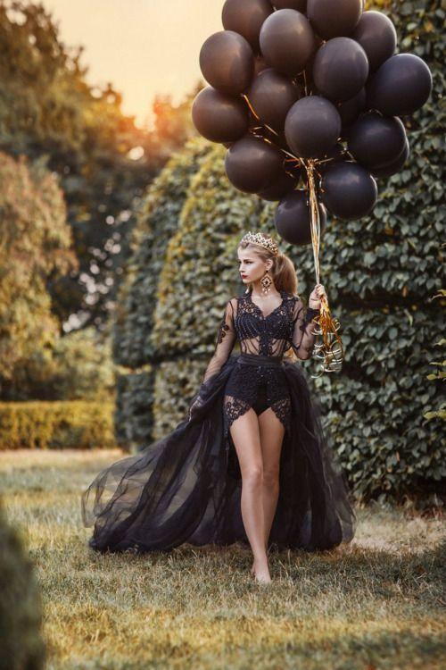 Fairy princess in black birthday photoshoot