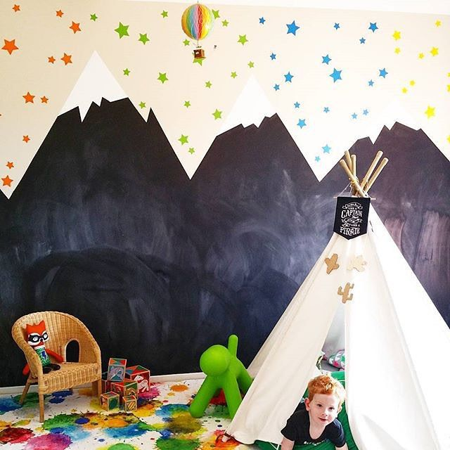 Weekend fun! How amazing is @fee_loves_ playroom? Chalkboard paint for the mountains with our star decals in custom mixed sizes above - so cool!