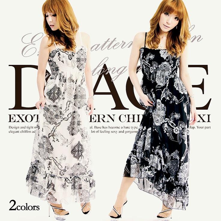 [全2色]エキゾチック柄シフォンマキシロングドレス