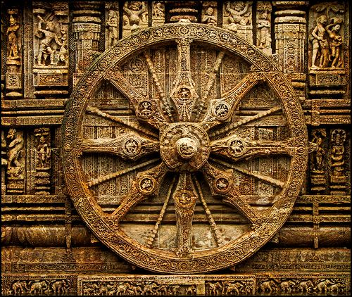 The Konark Surya Mandir (Temple) (also spelled Konarak) is a 13th-century Hindu temple dedicated to the Hindu Sun God - Surya Bhagvan. Shaped like a giant chariot, the temple is known for the exquisite stone carvings that cover the entire structure.
