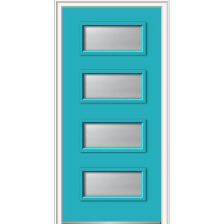 Milliken Millwork 36 in. x 80 in. Celeste Clear Low-E Glass Right-Hand 4-Lite Eclectic Painted Fiberglass Smooth Prehung Front Door, Bahama Blue