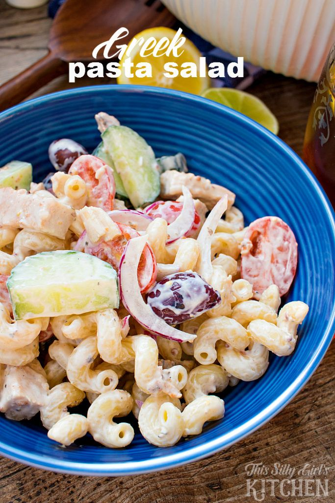 Creamy Greek Pasta Salad - This summer salad is an easy dish your family will love! It makes a light refreshing lunch or dinner. Make this quick recipe the next time you're looking for a cold meal.
