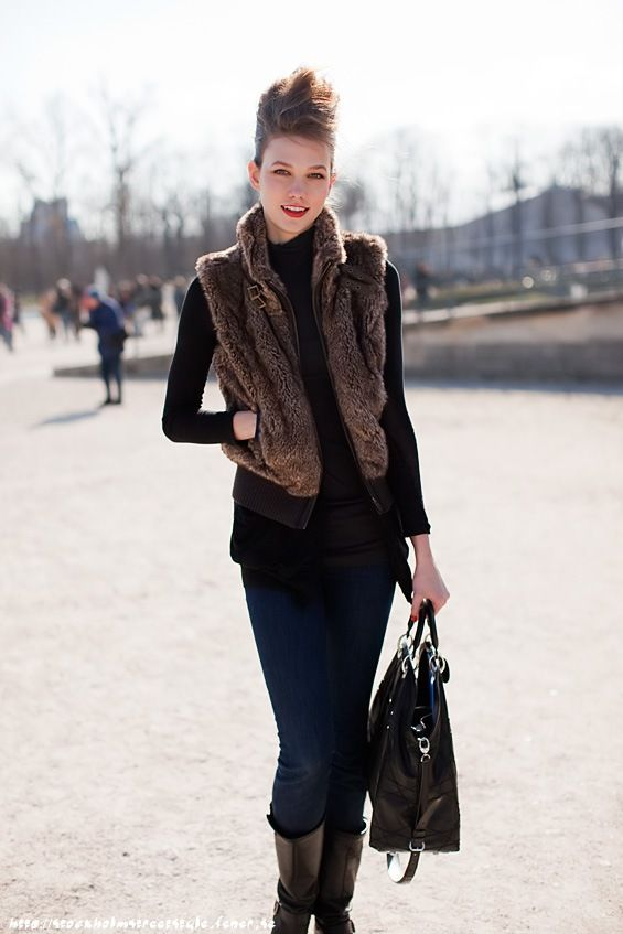 how to wear a brown fur vest - Google Search