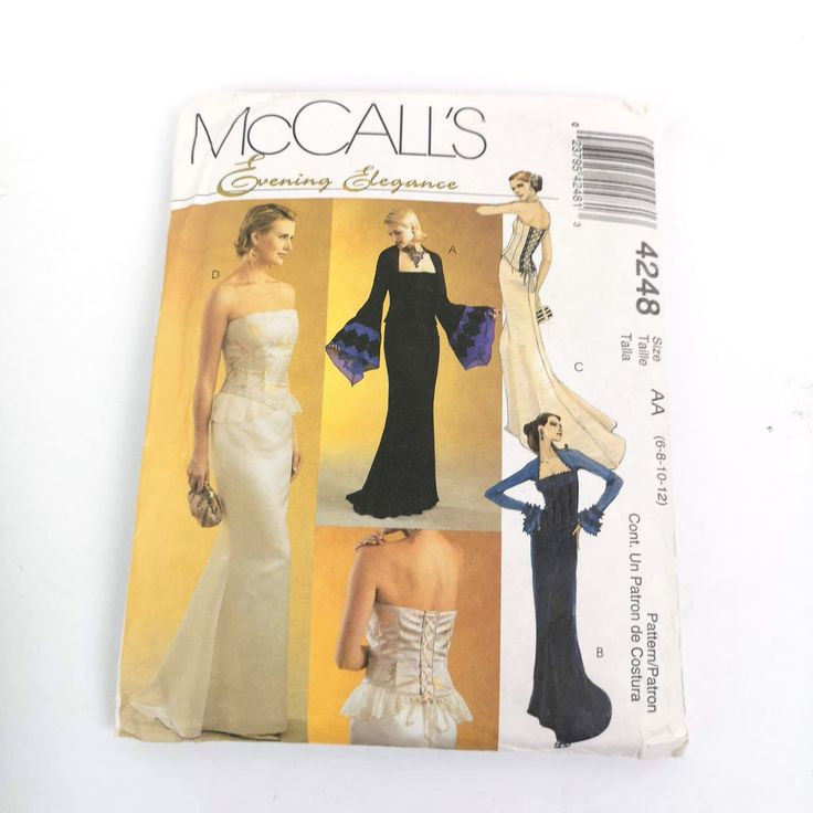McCalls Sewing Pattern 4248 Dress Evening Elegance Size 6 8 10 12 Uncut