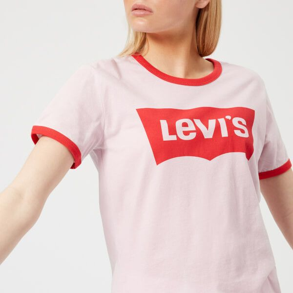 Levi's Women's Perfect Ringer T-Shirt - Batwing Light Lilac (€28) ❤ liked on Polyvore featuring tops, t-shirts, red, batwing t shirt, pink top, red batwing top, red top and batwing tops