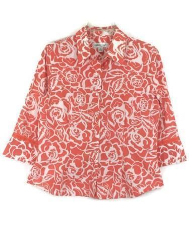 COLDWATER CREEK SIZE PS Floral Button Down Shirt Blouse Coral 3/4 Sleeve Womens…