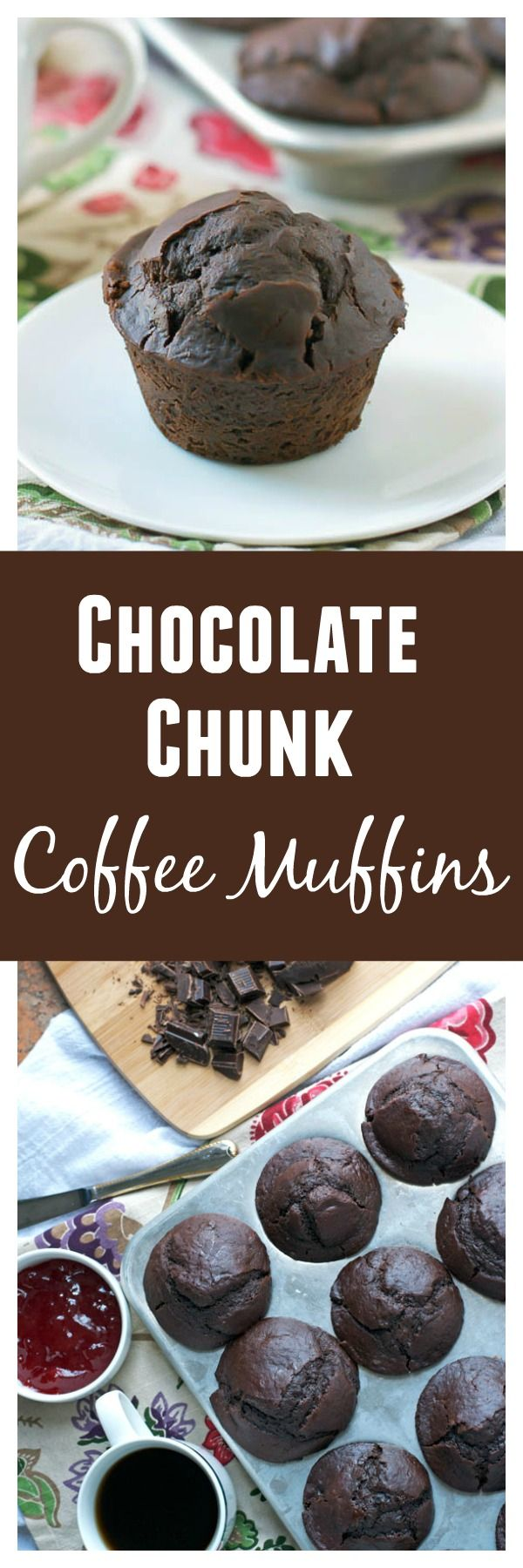 Chocolate Chunk Coffee Muffins. Stuffed with chocolate and laced with espresso, these muffins pack a decadent punch of flavor!