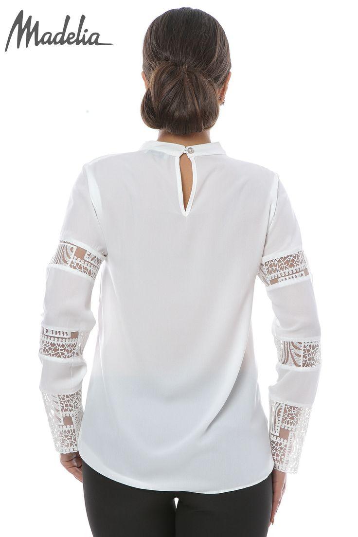 Bluza din voal cu insertii din dantela | Madelia Fashion - Magazin online haine și rochii de damă