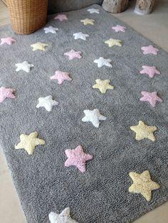 Superb Teppich washable Baumwolle Sterne grau rosa von Lorena Canals Wundersch ner flauschiger Baumwollteppich f r kleine und gro e R
