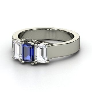 Emerald-Cut Sapphire 14K White Gold Ring with White Sapphire - lay_down