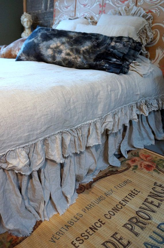 Linen Bed Skirt in 100% Belgian Linen with an unfinished edge from our bedding collection at Pink Pig