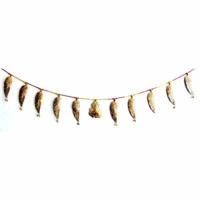Metal Leaves Toran - Golden