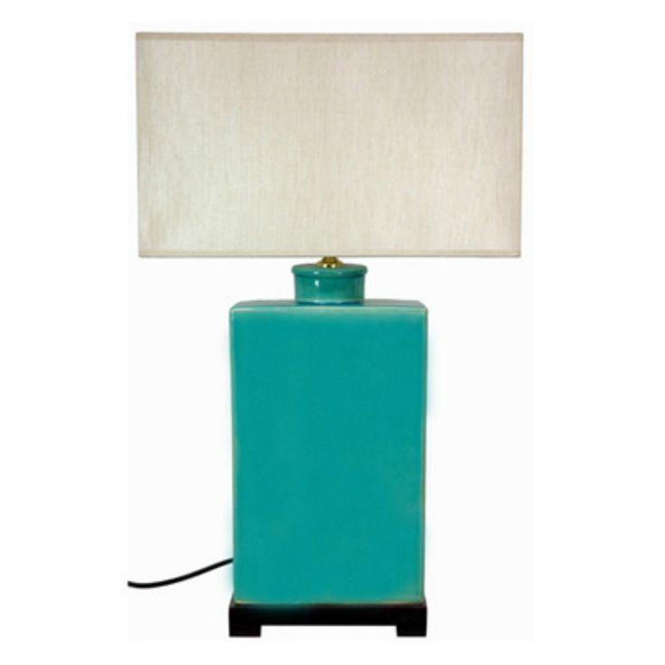 Oriental Furniture 28 Inch Rectangular Turquoise Lamp - LMP-JCO-X6025
