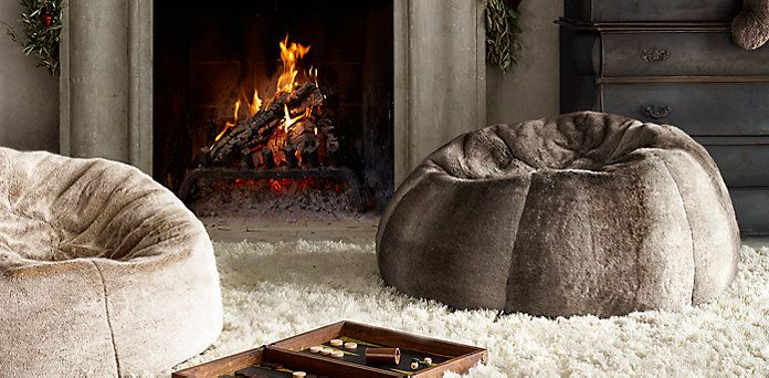 "Luxe Faux Fur Bean Bags. 50"" Round x 24"" High 