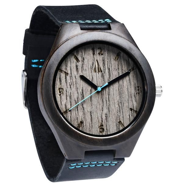 Tree Hut Black Leather Wooden Watch | This wooden Tree Hut watch has genuine leather bands and is handmade in San Francisco from real wood with available engraving.