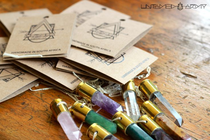 Refined Crystal Bullet Pendants by Untamed Army. Handmade in South Africa.