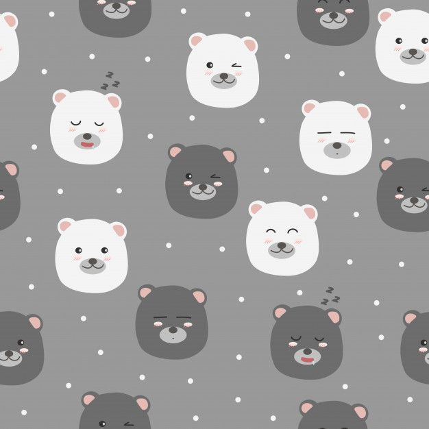Cute Bear Faces With Poka Dot Seamless Pattern Background Vector Patterns Design Background Patterns Cute Wallpapers