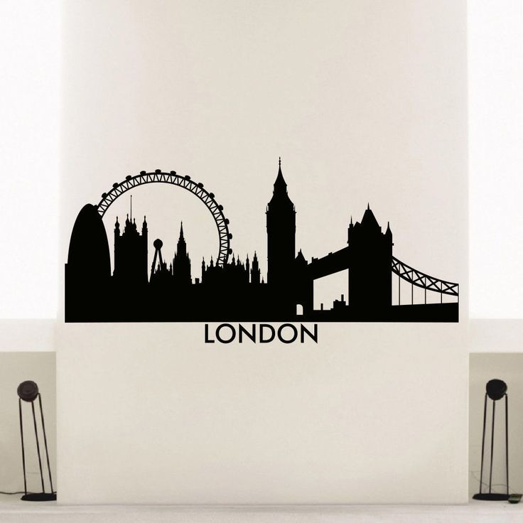 England london skyline city silhouette vinyl wall art for Silhouette wall art