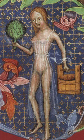 Maître de Balaam: Jeune fille au bain - Enluminure extraite de La Bible de Wenceslas, composée entre 1390 et 1400 à Prague et conservée à la Bibliothèque nationale autrichienne à Vienne sous la cote Codex Vindobonensis 2759-2764.