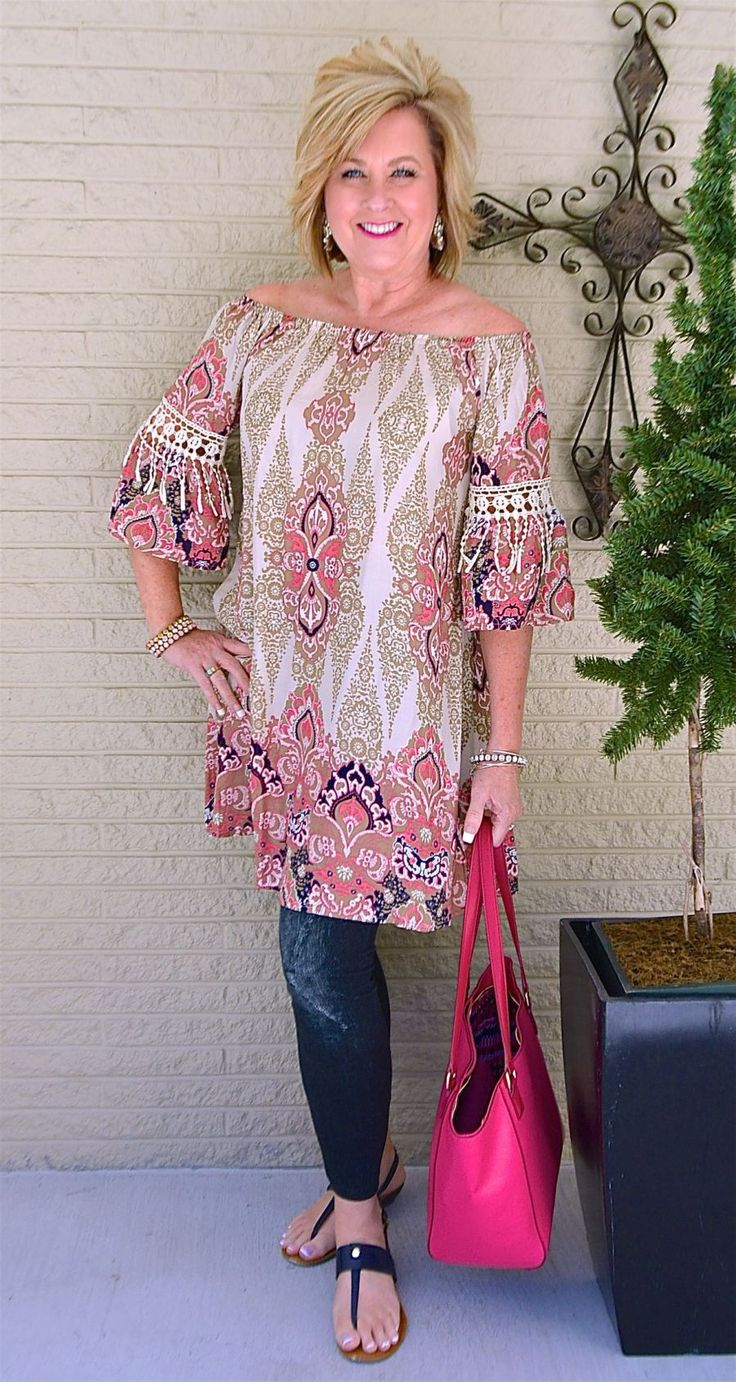 50 IS NOT OLD | STATEMENT EARRINGS AND LEGGINGS | Off the shoulder | Crochet | Statement Earrings | Pop Of Color | Spring | Fashion over 40 for the everyday woman