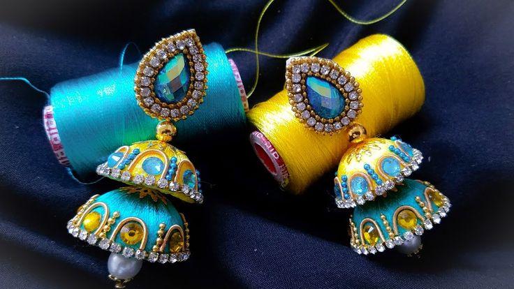 Making Silk Thread designer Jhumkas||Silk Thread Double jhumka (Tutorial)