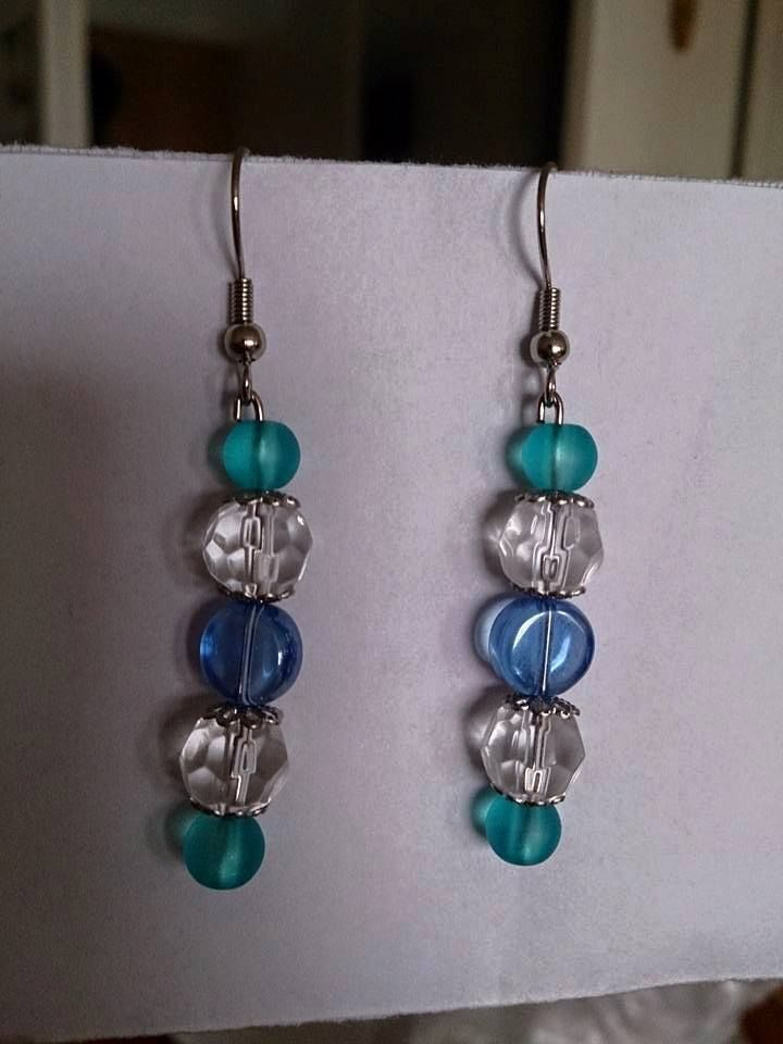 Blue turquise white earrings