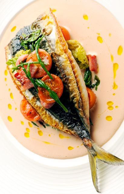 Mackerel, tomato and samphire salad - Nathan Outlaw. perfect dish to serve up as a light main or starter in the summer months. The fish in this salad is paired with tomato and samphire, with a warm mayonnaise which uses reserved tomato stock.