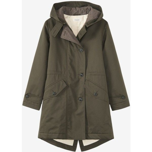 WINTER PARKA (1,210 PEN) ❤ liked on Polyvore featuring outerwear, coats, water resistant coat, cotton parka, hooded parka coat, hooded coat and button coat