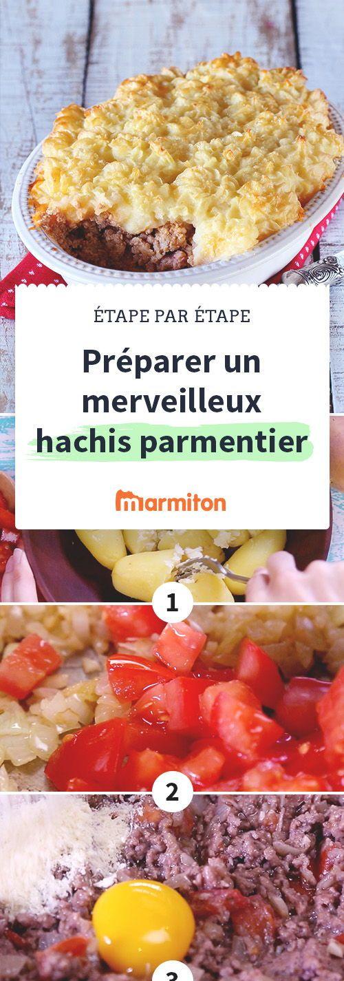Préparer un délicieux hachis Parmentier n'a jamais été aussi simple ! Il vous suffit de suivre notre pas-à-pas en image. #recette #marmiton #pommedeterre #hachis #parmentier #dimanche #gratin #facile