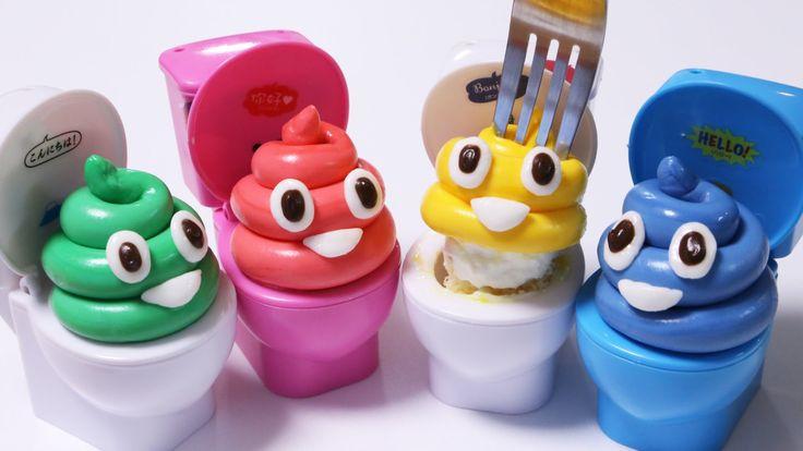 "i made marshmallow fondant 4 colors emoji""poop"" cupcake!;)it looks like Wagashi Nerikiri(Japanese traditional edible clay sweets)but more sweet than nerikiri..."