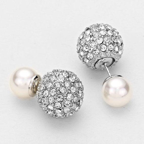 Double Sided Rhinestone Designer Inspired Pearl Earrings