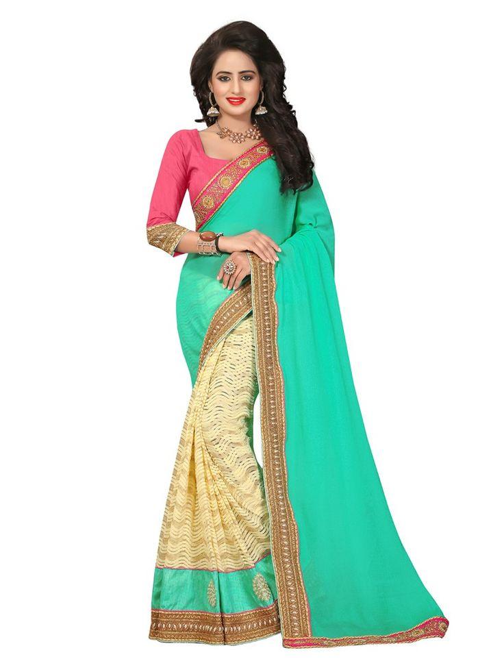 Buy Apparels- Sea Green and Cream Colour Party Wear Half Half Saree
