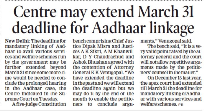 The Central government told the Supreme Court it might extend the March 31, 2018 deadline for linking of Aadhaar with bank accounts, mobile phones and other services.  #LegalLawyersinHyderabad       #LegalAdvocatesinHyderabad #AbhayaLegalServices                 #LegalServicesinHyderabad