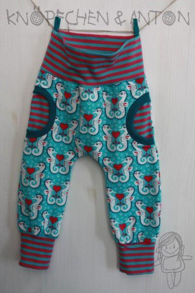 Babyhose - Faux-Pocket-Pants -  Seepferdchen, Lillestoff Hippocampi, von Knöpfchen und Anton auf DaWanda.com